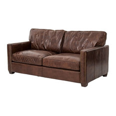 Zin Home Larkin 2 Seater Vintage Cigar Distressed Leather Sofa Sofas