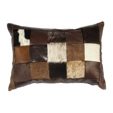 Miscellaneous Patch Leather Hair on Hide Pillow, 12x18 with Fabric Back