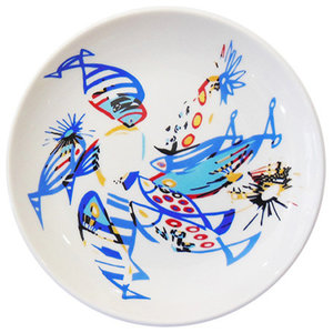 Blue and White Porcelain Fish Plate, Small