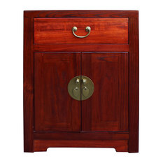 Chinese Oriental Brown Moon Face End Table Nightstand