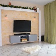 Wohnzimmergestaltung Steinriemchen von Stegu/Celina Klinker