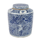 Q Ing Double Happiness Porcelain Jar Asian Artwork