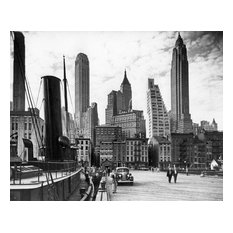 """Financial District Skyline from East River Pier, Circa 1940, 24""""x30"""""""