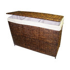3-Section Woven Maize Hamper in Walnut Finish w Full Load Liner