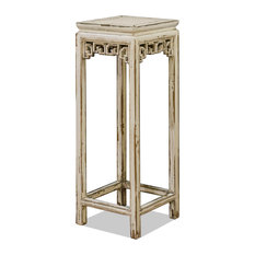 Elm Wood Chinese Pedestal Stand, Off-White