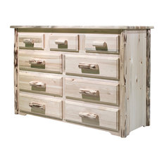 Montana Collection 9-Drawer Dresser, Clear Lacquer Finish