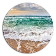 "Crystal Clear Blue Foaming Waves, Seashore Disc Metal Wall Art, 38"""
