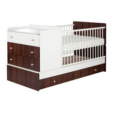 Budget Combo Cot Bed, White and Walnut