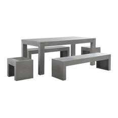Taranto Concrete Outdoor Dining 5-Piece Set