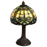 Dale Tiffany - Poshe Dragonfly Tiffany-Style Accent Lamp - Bring the beauty of stained glass right into the heart of your design with the Poshe Dragonfly Tiffany-Style Accent Lamp. This fixture is crafted of metal with a hand-rolled art glass shade that handsomely diffuses the light from within.