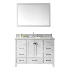 "Caroline Avenue 48"" Single Bathroom Vanity Set White, Marble Top"