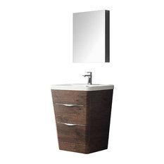 "Fresca Milano 26"" Rosewood Modern Bathroom Vanity With Medicine Cabinet"