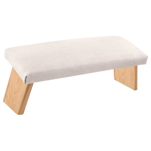Contemporary Bench, Solid Beech Wood With Padded Seat, Nature