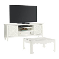 2 Piece Living Room Set with TV Stand and Coffee Table in White