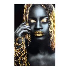 """Glass & Foil Photo Portrait 60""""x40"""", Gold Hair"""