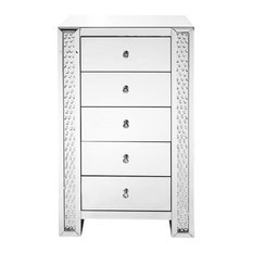 "29"" Crystal Five Drawers Chest, Clear Mirror Finish"