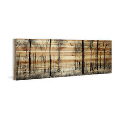 "Parvez Taj - ""Panoramic Forest"" Painting Print on Natural Pine Wood, 60""x20"" - Prints and Posters"