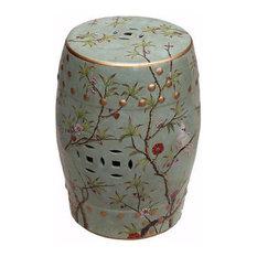 Vintage Style Famille Verte Porcelain Garden Stool Lucky Fish Motif