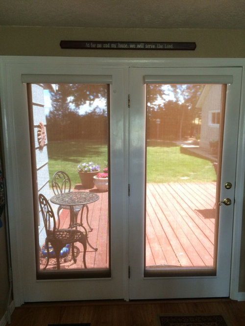 French door cordless solar shades by insolroll for Roller screens for french doors