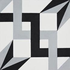 "8""x8"" Sahara Handmade Cement Tile, Black and Gray, Set of 12"