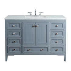 "48"" New Yorker Single Sink Vanity, Marble Carrara White Top, Gray"