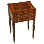 Niagara Furniture - Sheraton End Table - This Sheraton End Table by Niagara Furniture, draws on a design first popularized by Thomas Sheraton whose work as a cabinet maker was very influential in Eighteenth Century England. The Sheraton End Table has become our best selling end table ever. With its interesting and attractive shape the top is further decorated with satinwood and mahogany banding around a figural mahogany field. Similarly decorated the two drawers are dovetailed and feature finely detailed hardware of the finest quality. And all of this is supported on four turned, reeded legs ending in brass caps.