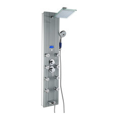 "AKDY Home Improvement - AKDY AK-787392F 51"" Tempered Glass Shower Panel Tower With Rainfall Shower Head - Shower Panels and Columns"