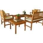 Virginia Outdoor Wood Adjoining Chairs Contemporary