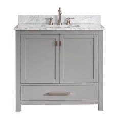 "Avanity Modero 37"" Vanity, Chilled Gray Finish, Carrera White Marble Top"