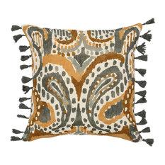 """Melindi Linen 18"""" Throw Pillow, Yellow by Kosas Home"""