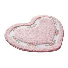 Pastorale Non-Slip Heart-Shaped Bath Doormat, 50x60 cm, Pink