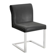 Bruno Leather Dining Chair by Nuevo Living, Black Leather
