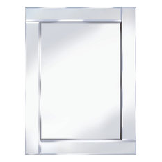 Bevelled All Glass Wall Mirror, 80x60 cm