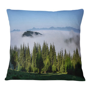 Designart CU14312-16-16 Morning Mist Over Mountain Village Landscape Printed Cushion Cover for Living Room Sofa Throw Pillow 16 in x 16 in Insert Side in