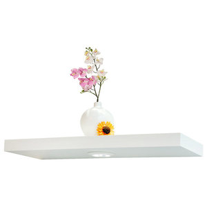 Floating Wall Shelf With Battery Powered Touch Activated LED Light, White, 24""