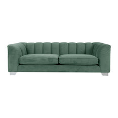 Enzo Channel-Back Sofa, Light Blue, 3-Seater