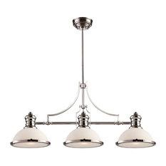 Chadwick 3-Light Island Light, Polished Nickel And White Glass