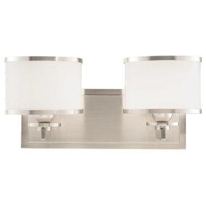 "Bathroom Vanity 2-Light With Satin Nickel Finish, G9 Bulbs Type, 14"", 150W"