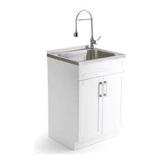 "Hennessy Contemporary 24"" Laundry Cabinet With Faucet and Stainless Steel Sink"
