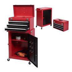 Costway 2pc Mini Tool Chest & Cabinet Storage Box Rolling Toolbox Organizer