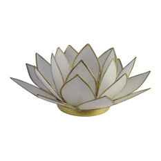 Lotus Tea Light Candle Holder Capiz Shell Home Decorating Accent, White