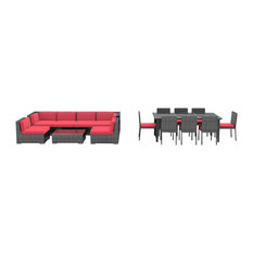 Urban Furnishing - 16-Piece Outdoor Patio Dining and Sofa Sectional Set, Coral Red - Outdoor Lounge Sets