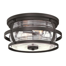 """Westinghouse 6359500 Weatherby 2 Light 14""""W Outdoor Flush Mount - Weathered"""