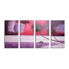 """Mystic Breeze"" Canvas Wall Art, Purple, 4-Piece Set"