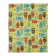"EORC Hand-tufted Wool Beige Kids Animal Kid's Owl Rug, Rectangular 7'9""x9'9"""