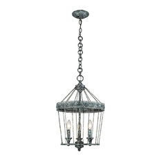 Ferris 3-Light Chandelier, Blue Verde Patina