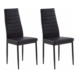 Set of 2 High Back Chairs, Faux Leather Cushion and Steel Legs, Black