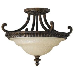 2-Light Flush Ceiling Fitting, Walnut