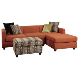 Transitional Sectional Sofas Blended Linen Upholstered Reversible Chaise  Sofa With Ottoman