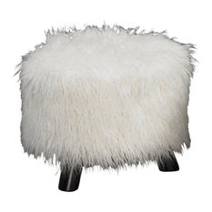 Linon June Faux Fur Wood Upholstered Foot Stool in White